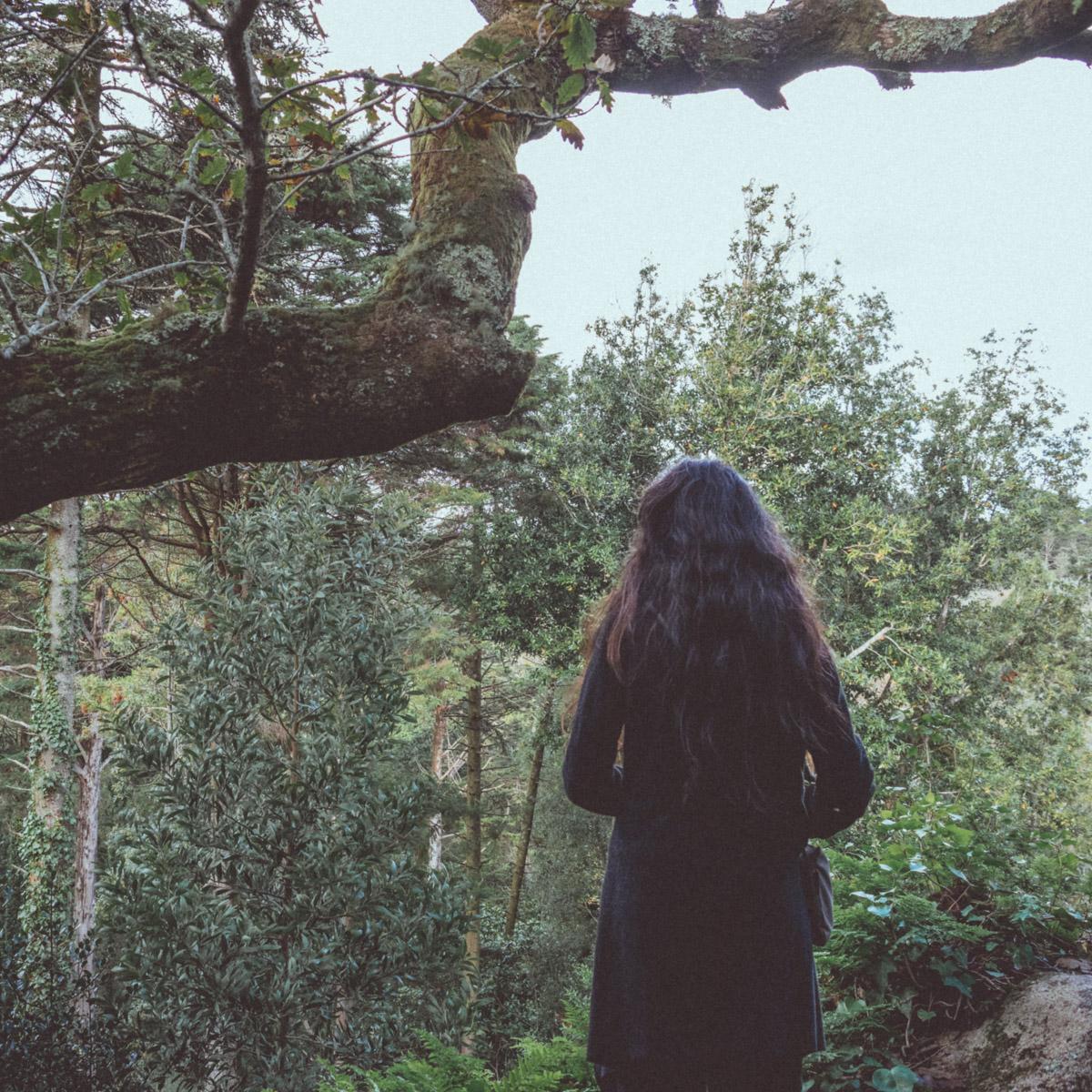 woman standing in forest by a oak tree