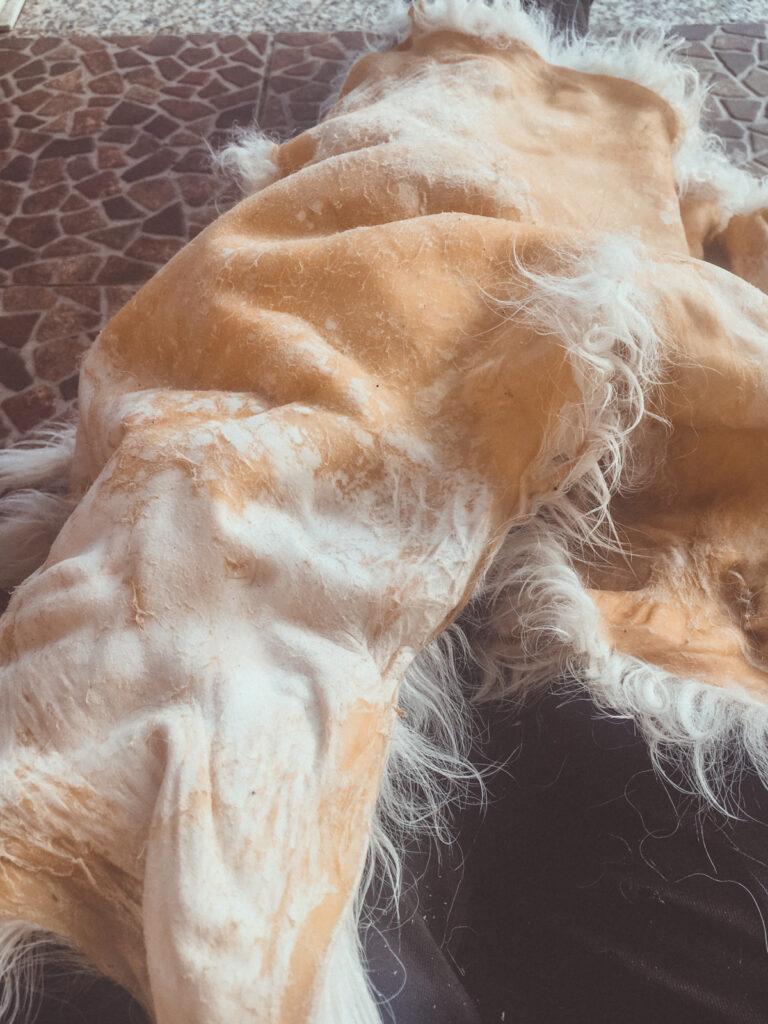 Hand softening sheepskin