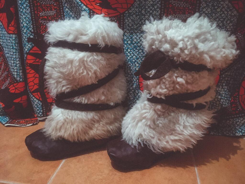 Handmade sheepskin and felt boots