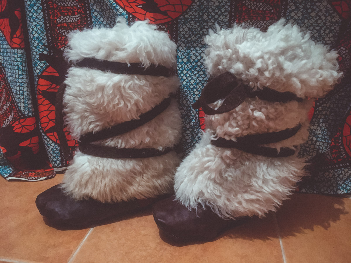 Handmade sheepskin and felt boots