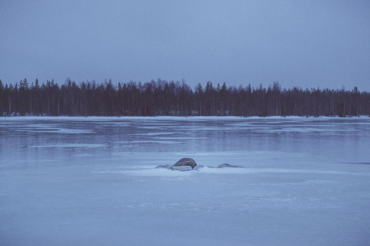 Icy river by Kierkki Neolithic Village