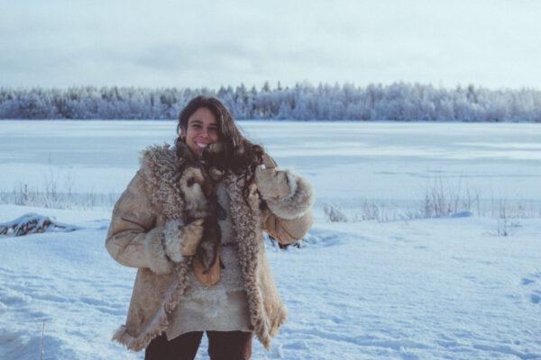 Woman wearing handmade sheepskin Winter clothes