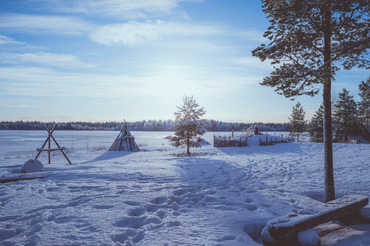 Snow covered landscape in Kierikki