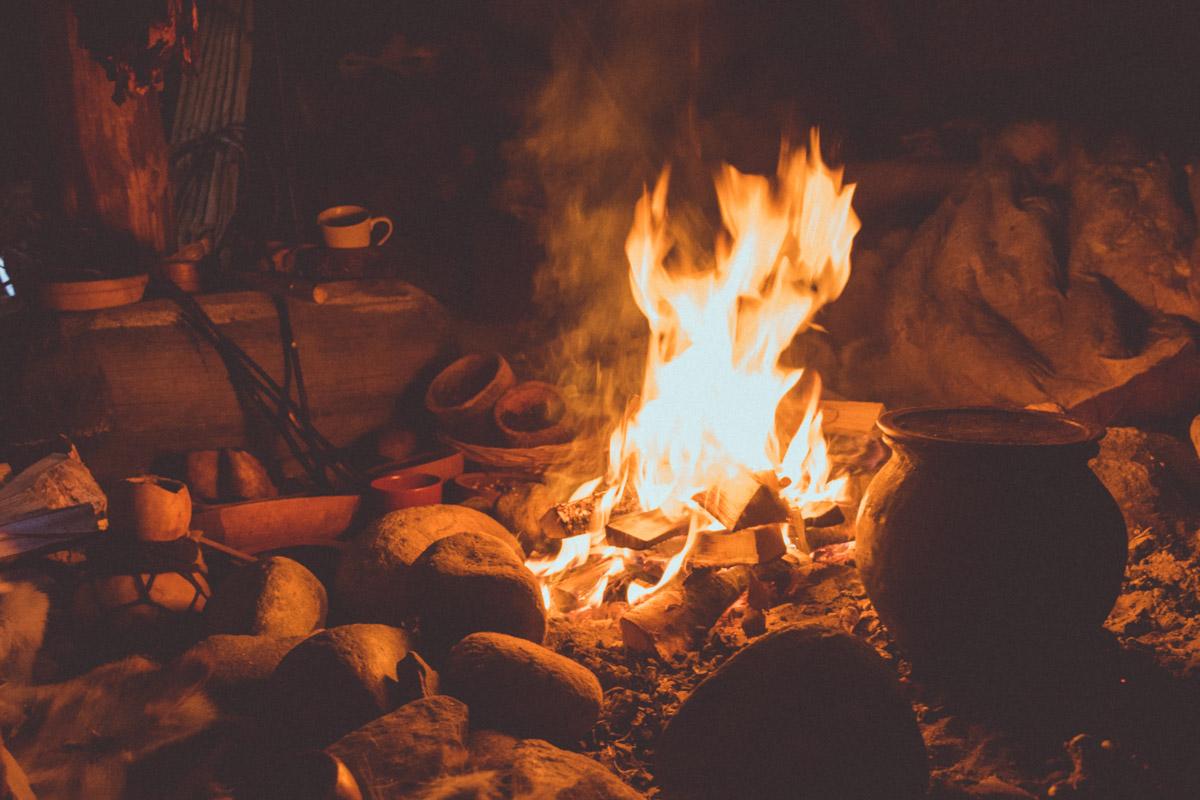 Fire hearth inside stone age house