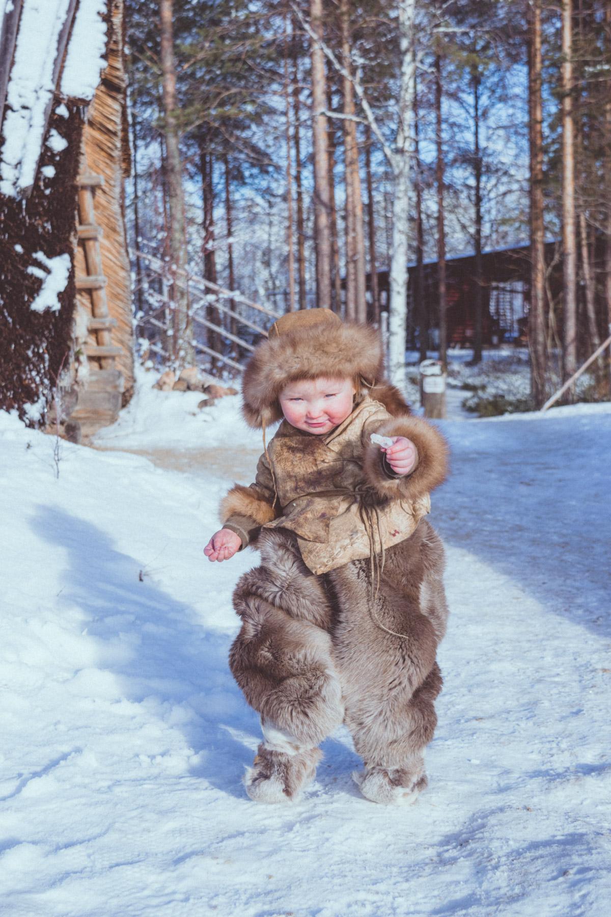 Stone age child in Kierikki Neolithic village