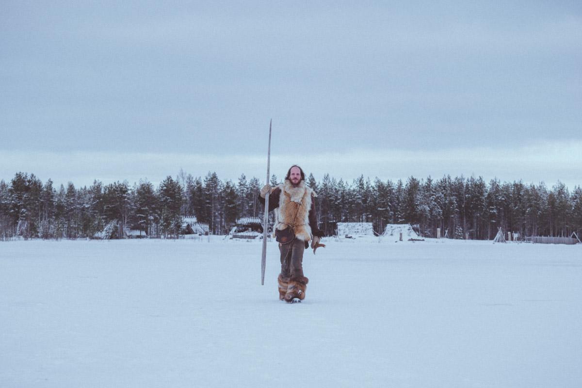 Steven Dirven walking over frozen river in Kierikki