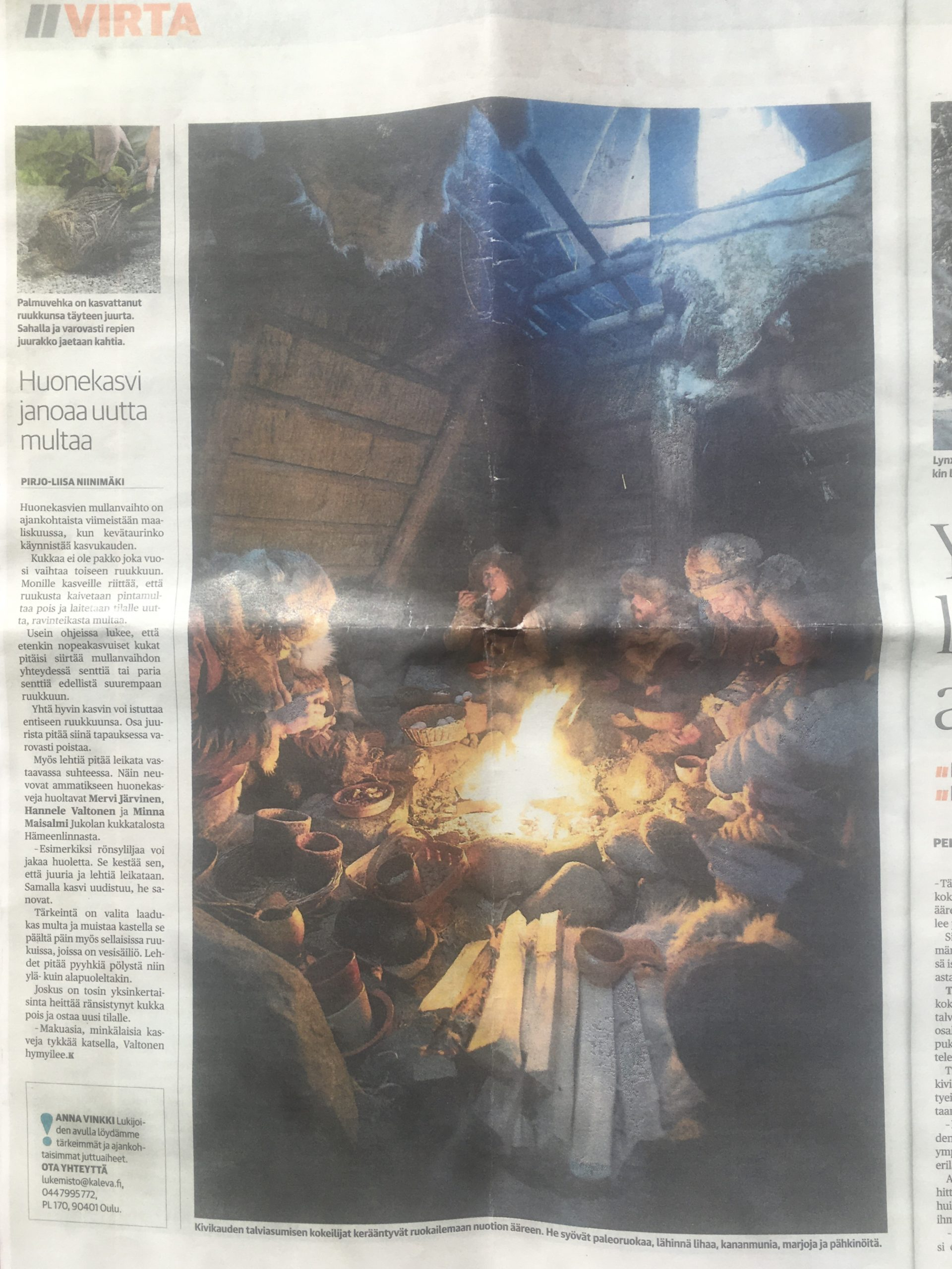 Media appearance of stone age group in Kaleva's newspaper